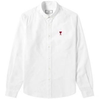 Ami Button Down Heart Logo Oxford Shirt