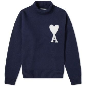 Ami Large Heart Intarsia Roll Neck Knit