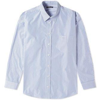 Balenciaga Oversize Stripe Logo Shirt