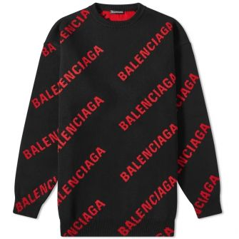 Balenciaga Repeat Logo Crew Knit
