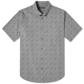 Balenciaga Short Sleeve All Over Print Logo Shirt