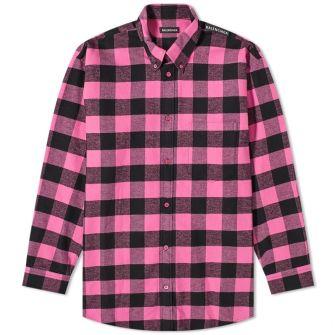 Balenciaga Tab Logo Checked Shirt
