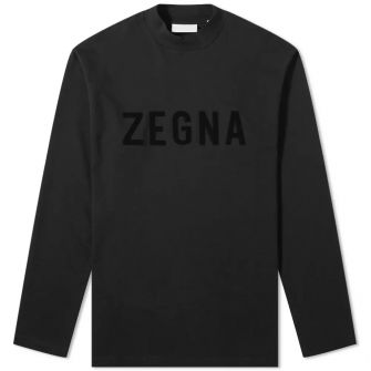 Fear Of God X Zegna Oversized Long Sleeve Logo Tee