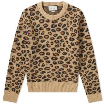 Gucci Leopard Print Crew Neck Knit