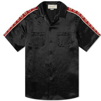 Gucci Taped Logo Silk Vacation Shirt