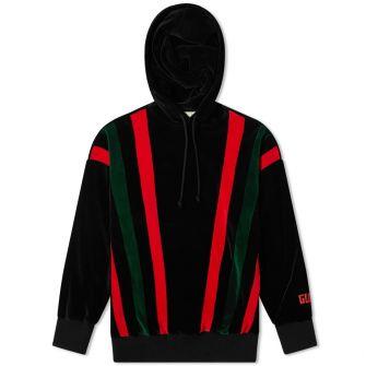 Gucci Velour Grg Stripe Popover Hoody