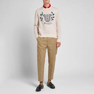 Gucci Logo Fair Isle Crew Knit