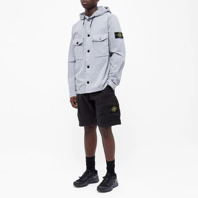 Stone Island Garment Dyed Hooded Button Overshirt