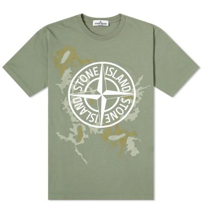 Stone Island Junior Camo Compass Logo Tee